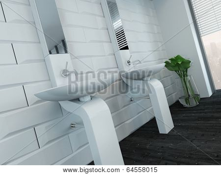 Picture of modern design white wash basin and faucet