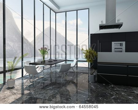 Picture of modern kitchen and dining room interior