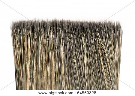 Bristle of brush close-up isolated on white background