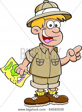 Cartoon boy dressed as an explorer