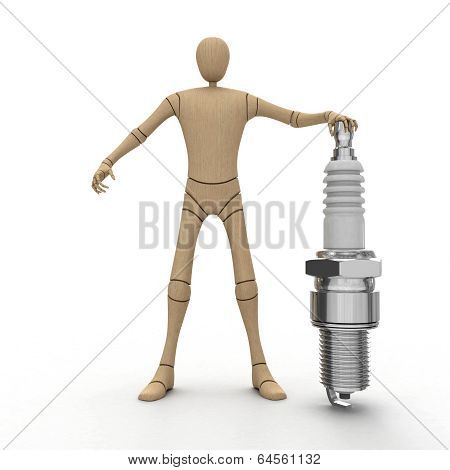 Wooden Man With Spark Plug