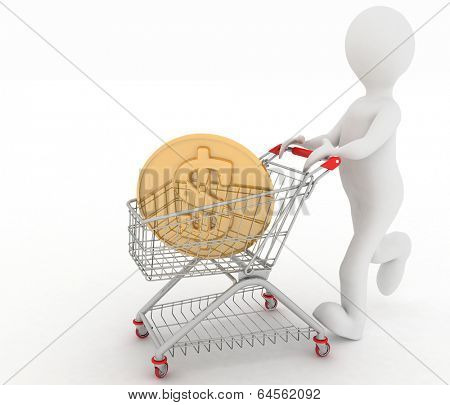 person rolls the shopping cart with coin of dollar inwardly