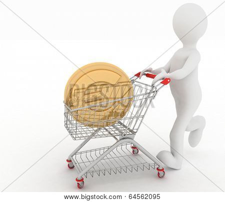 person rolls the shopping cart with coin of euro inwardly