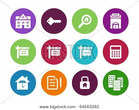 Real Estate circle icons on white background.