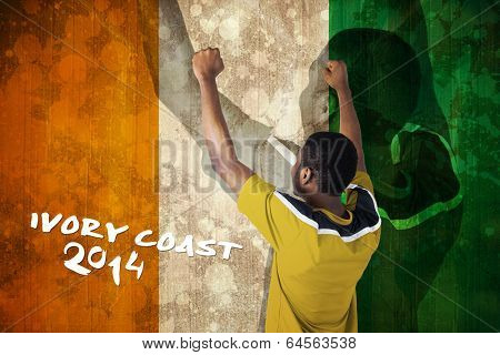 Cheering football fan in yellow jersey against ivory coast flag in grunge effect