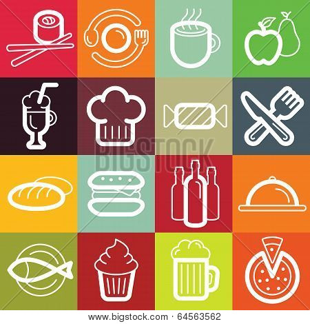 Vector Flat Icon Set - Food And Cafe