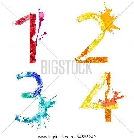 Vector paint splash font 1,2,3,4