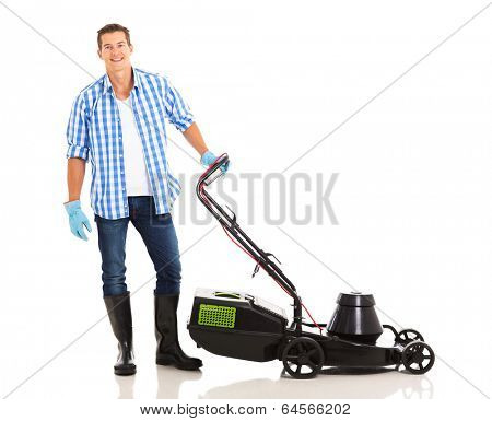 good looking man standing next to an electric lawnmower on white background