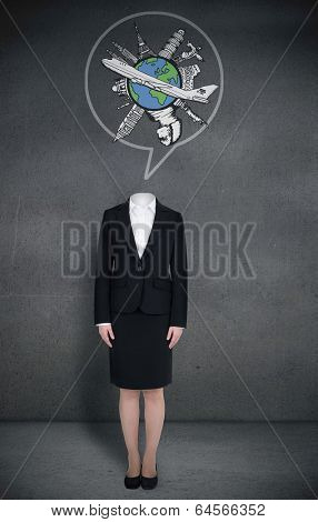 Composite image of headless businesswoman with globe in speech bubble in grey room
