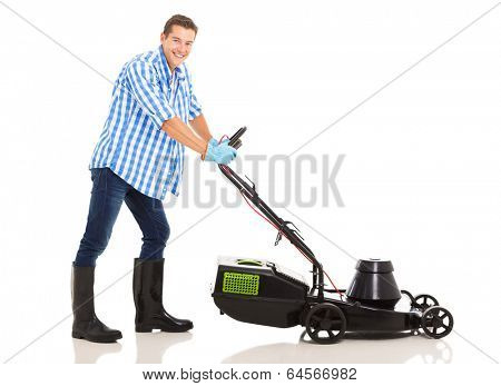 portrait of happy man mowing lawn isolated on white