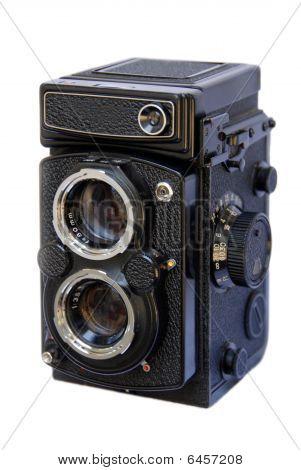 Twin Lens Reflex Camera On White