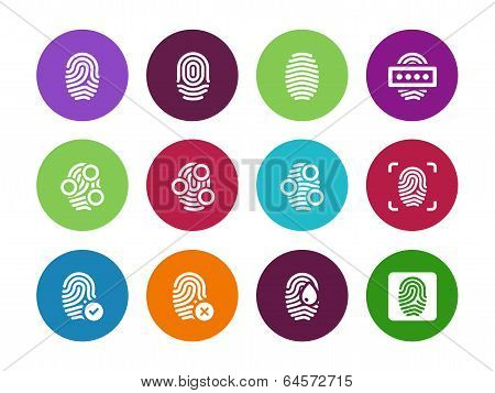 Fingerprint circle icons on white background.
