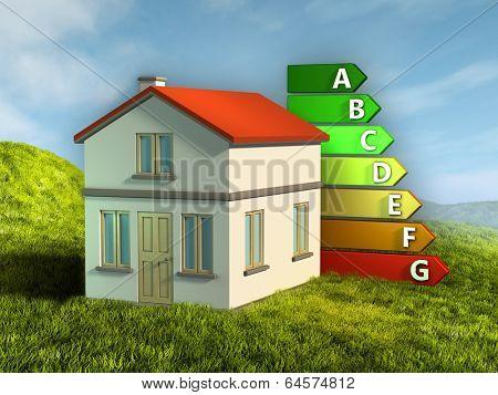 House energy ratings. Digital illustration.