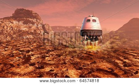 Space module landing on Mars surface. Digital illustration.