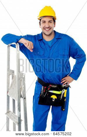 Young Handyman With Step-ladder