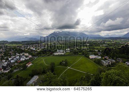 Salzburg Panorama from Festung Hohensalzburg. Landscape of Salzburg Town, Austria