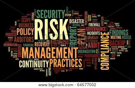 Risk and compliance in word tag cloud on black