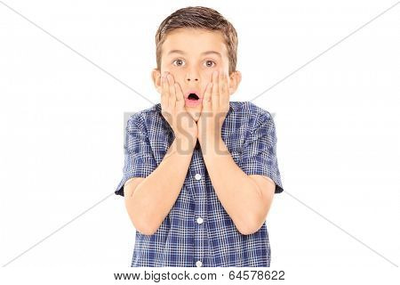 Scared boy gesturing surprise isolated on white background