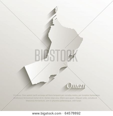 Oman map card paper 3D natural vector