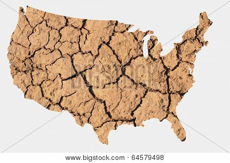 Map shape of the United States with dry parched earth representing drought conditions due to Climate Change also know as Global Warming.