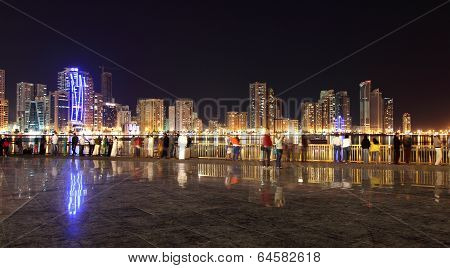 Square In Sharjah City At Night