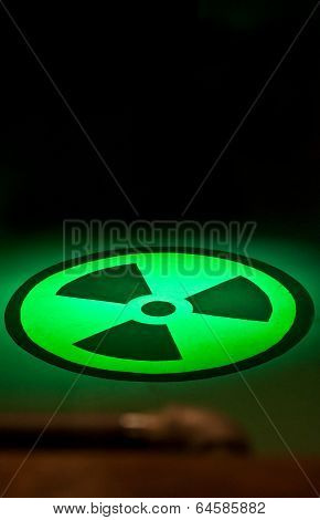 Radium Symbol On Floor In Green Light