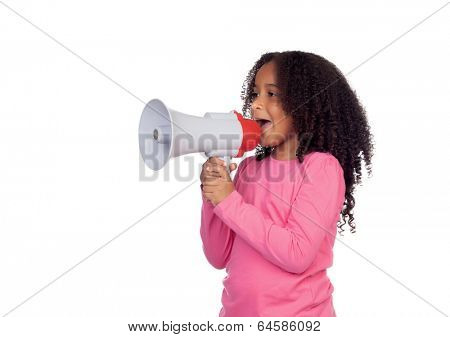 African little girl with a megaphone isolated on a white background
