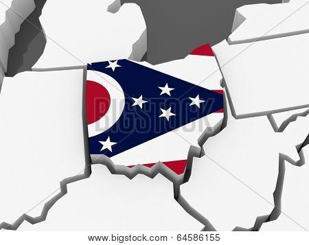Three-dimensional map of Ohio. USA. 3d
