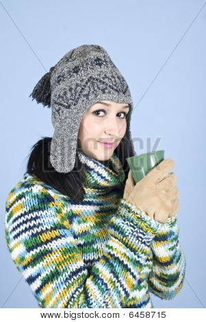 Teen Winter Girl With Hot Drink
