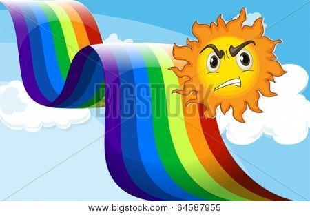 Illustration of a sun frowning near the rainbow