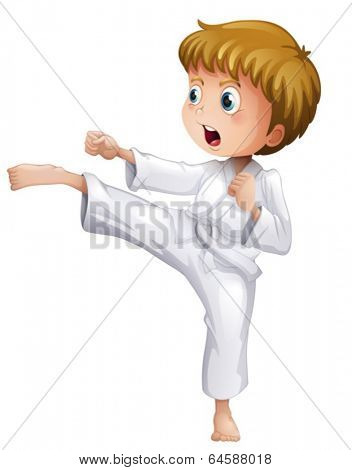 Illustration of a brave boy doing his karate moves on a white background