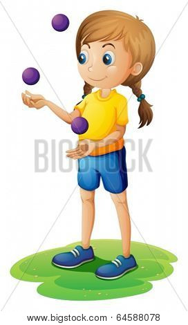 Illustration of a young lady juggling on a white background