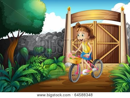 Illustration of a child biking at the yard