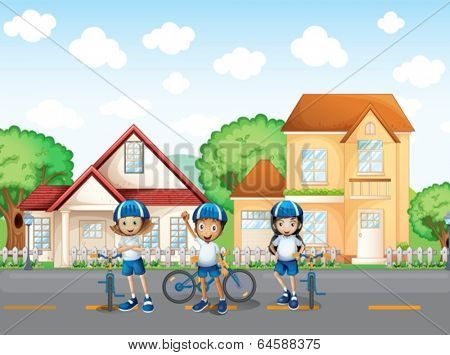 Illustration of the three cute bikers at the road