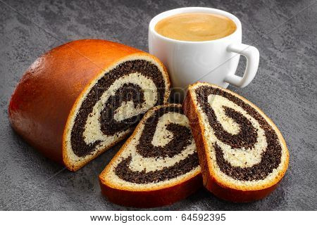 poppy seed strudel and coffee