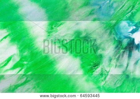Batik - Abstract Green Striped Pattern On Silk