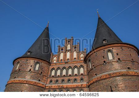 Top Of The Holstein Gate In Lubeck