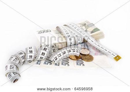 Money Concept Of Expensive Bill With Measurement Tape