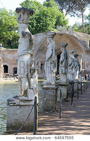 Tivoli, Italy - April 21, 2014: Canopus Of The Hadrian - The Hadrian's Villa