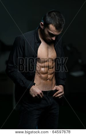 Young Man With His Shirt Open