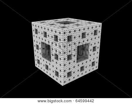 exterior of an entire M4 Menger-Siepinsky sponge , a 3D fractal (CGI) , monochrome