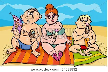 Overweight Family On The Beach