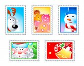 stock photo of rudolf  - Christmas stamps with Rudolf - JPG