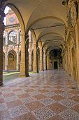 stock photo of pilaster  - a view of archiginnasio bologna  - JPG