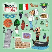 pic of gondola  - Tour of Italy illustration with landmarks including the leaning Tower of Pisa  Venice gondola  Colosseum  a gondolier  chef and food icons of a pizza and pasta  wine olives and the Italian flag - JPG