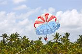 stock photo of parasailing  - Happy couple Parasailing in Dominicana beach in summer - JPG