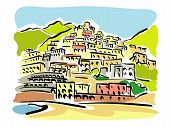 stock photo of hydrofoil  - illustration of panoramic views over the famous tourist resort of Positano - JPG