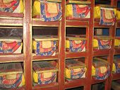 foto of scriptures  - Scripture library of Tibet. Repository of books.