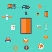 stock photo of fi  - vector illustration of wi fi technology connected with mobile phone - JPG