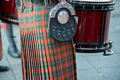 stock photo of kilt  - The ancient tradition of the drum and the kilt - JPG